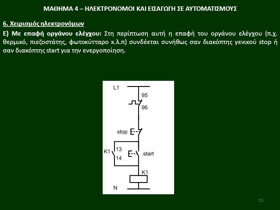 15 Ε) Με επαφή οργάνου ελέγχου: Στη περίπτωση αυτή η επαφή του οργάνου ελέγχου (π.χ. θερµικό, πιεζοστάτης, φωτοκύτταρο κ.λ.π) συνδέεται συνήθως σαν δι