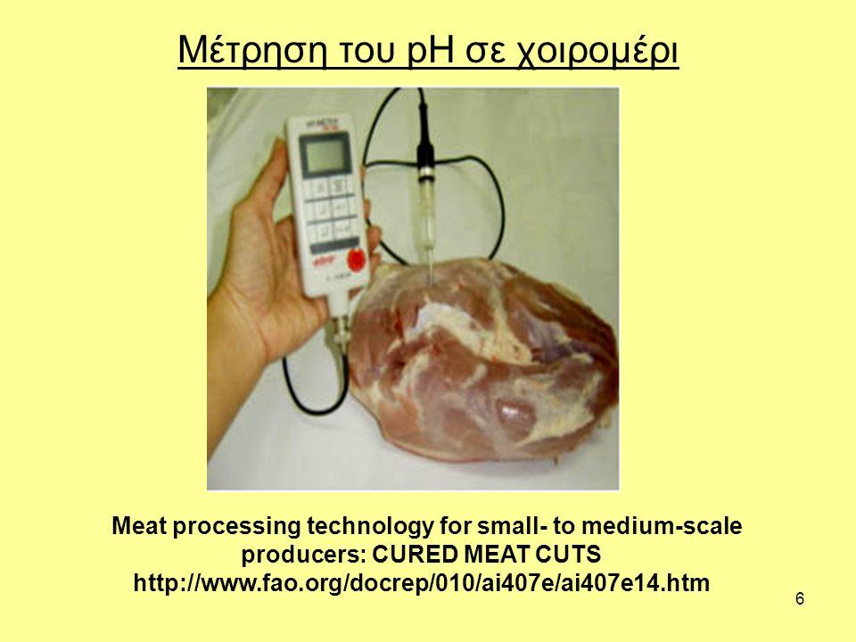 7 Νεκρική ακαμψία (rigor mortis) Μετά τη σφαγή του ζώου οι μύες βρίσκονται σε κατάσταση χαλάρωσης, είναι κολλώδεις και εύκαμπτοι.