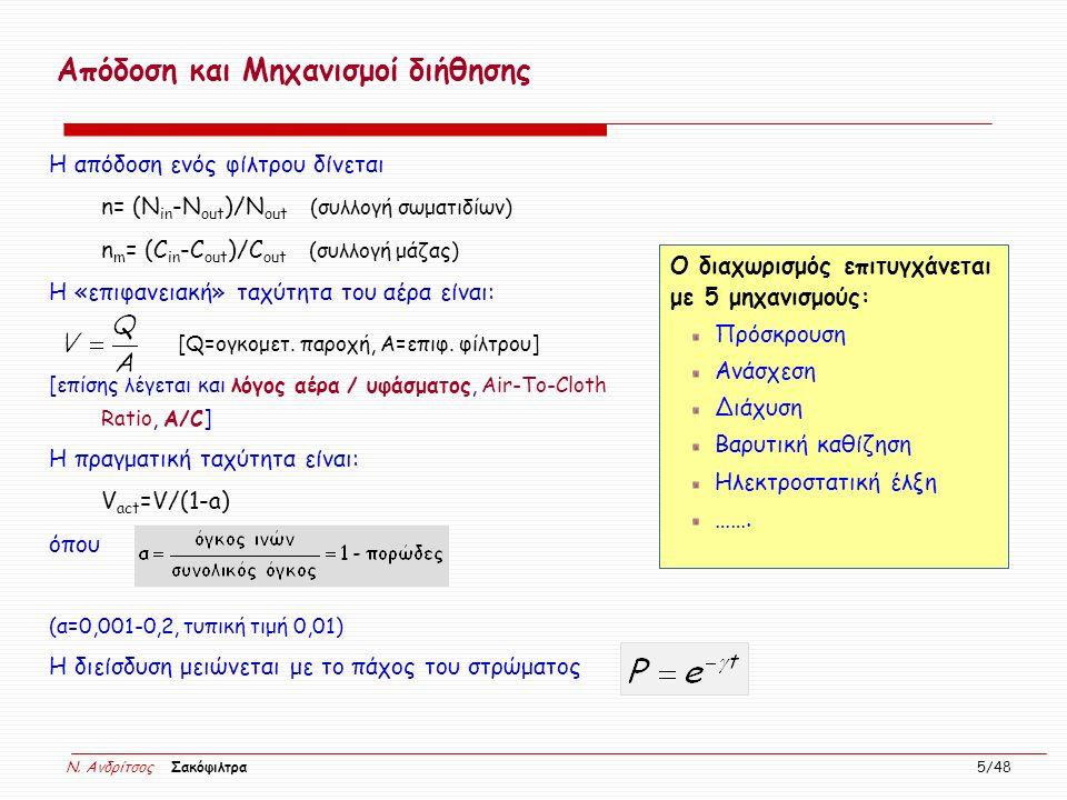 N. Ανδρίτσος Σακόφιλτρα 5/48 Απόδοση και Μηχανισμοί διήθησης Η απόδοση ενός φίλτρου δίνεται n= (Ν in -Ν out )/N out (συλλογή σωματιδίων) n m = (C in -