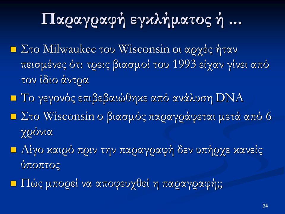 34 Παραγραφή εγκλήματος ή... Στο Milwaukee του Wisconsin οι αρχές ήταν πεισμένες ότι τρεις βιασμοί του 1993 είχαν γίνει από τον ίδιο άντρα Στο Milwauk