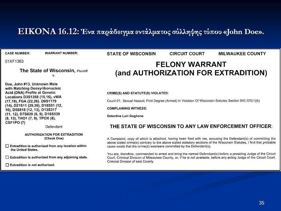 35 ΕΙΚΟΝΑ 16.12: ΕΙΚΟΝΑ 16.12: Ένα παράδειγμα εντάλματος σύλληψης τύπου «John Doe».