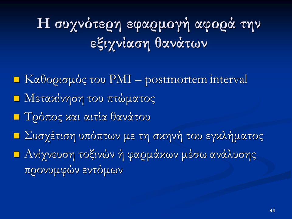 44 Η συχνότερη εφαρμογή αφορά την εξιχνίαση θανάτων Καθορισμός του PMI – postmortem interval Καθορισμός του PMI – postmortem interval Μετακίνηση του πτώματος Μετακίνηση του πτώματος Τρόπος και αιτία θανάτου Τρόπος και αιτία θανάτου Συσχέτιση υπόπτων με τη σκηνή του εγκλήματος Συσχέτιση υπόπτων με τη σκηνή του εγκλήματος Ανίχνευση τοξινών ή φαρμάκων μέσω ανάλυσης προνυμφών εντόμων Ανίχνευση τοξινών ή φαρμάκων μέσω ανάλυσης προνυμφών εντόμων