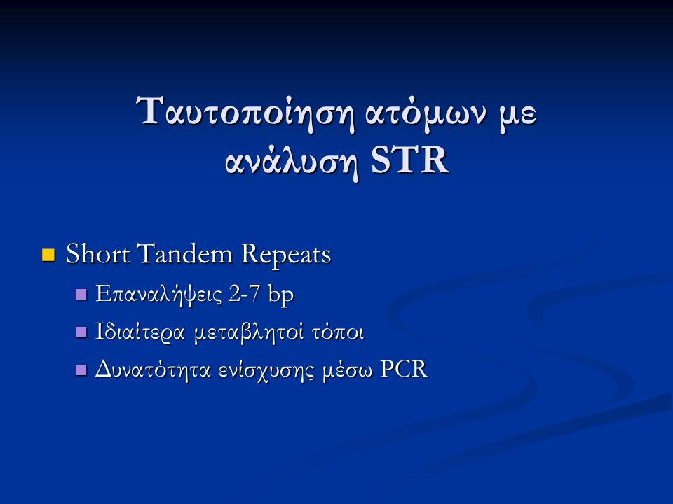 Ταυτοποίηση ατόμων με ανάλυση STR Short Tandem Repeats Short Tandem Repeats Επαναλήψεις 2-7 bp Επαναλήψεις 2-7 bp Ιδιαίτερα μεταβλητοί τόποι Ιδιαίτερα