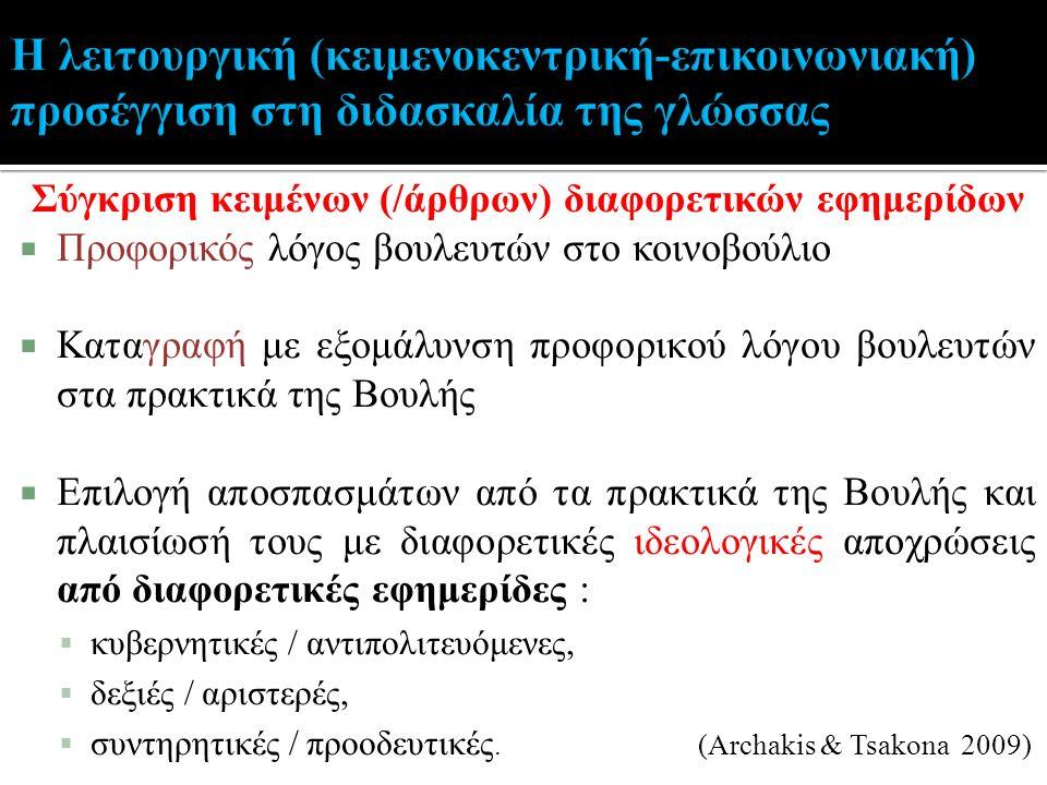 Σύγκριση κειμένων (/άρθρων) διαφορετικών εφημερίδων  Προφορικός λόγος βουλευτών στο κοινοβούλιο  Καταγραφή με εξομάλυνση προφορικού λόγου βουλευτών στα πρακτικά της Βουλής  Επιλογή αποσπασμάτων από τα πρακτικά της Βουλής και πλαισίωσή τους με διαφορετικές ιδεολογικές αποχρώσεις από διαφορετικές εφημερίδες :  κυβερνητικές / αντιπολιτευόμενες,  δεξιές / αριστερές,  συντηρητικές / προοδευτικές.