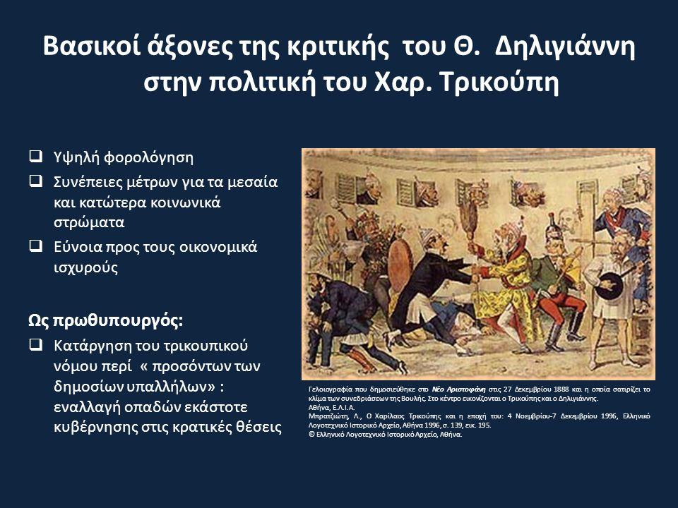 Βασικοί άξονες της κριτικής του Θ. Δηλιγιάννη στην πολιτική του Χαρ.