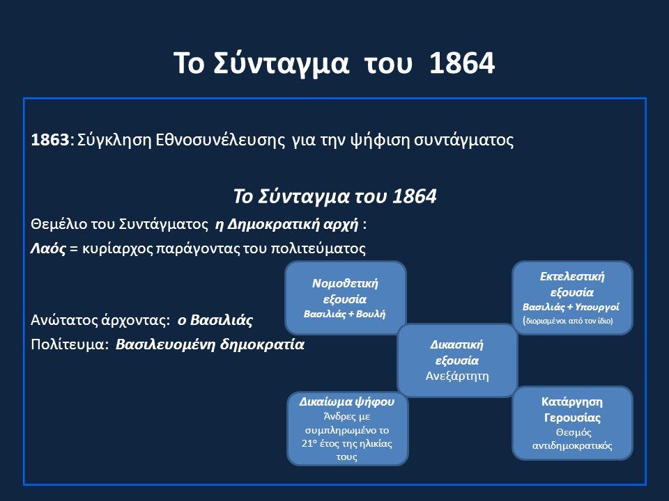 Το Σύνταγμα του 1864 1863: Σύγκληση Εθνοσυνέλευσης για την ψήφιση συντάγματος Το Σύνταγμα του 1864 Θεμέλιο του Συντάγματος η Δημοκρατική αρχή : Λαός = κυρίαρχος παράγοντας του πολιτεύματος Ανώτατος άρχοντας: ο Βασιλιάς Πολίτευμα: Βασιλευομένη δημοκρατία Νομοθετική εξουσία Βασιλιάς + Βουλή Δικαστική εξουσία Ανεξάρτητη Κατάργηση Γερουσίας Θεσμός αντιδημοκρατικός Εκτελεστική εξουσία Βασιλιάς + Υπουργοί ( διορισμένοι από τον ίδιο) Δικαίωμα ψήφου Άνδρες με συμπληρωμένο το 21 ο έτος της ηλικίας τους