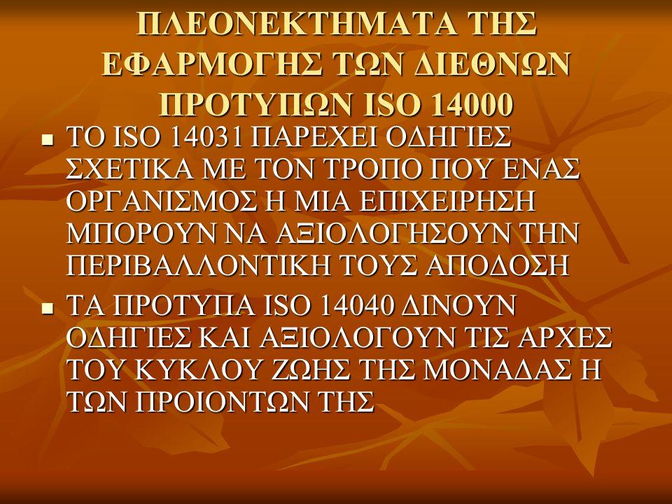 ΠΛΕΟΝΕΚΤΗΜΑΤΑ ΤΗΣ ΕΦΑΡΜΟΓΗΣ ΤΩΝ ΔΙΕΘΝΩΝ ΠΡΟΤΥΠΩΝ ISO 14000 ΤΟ ISO 14031 ΠΑΡΕΧΕΙ ΟΔΗΓΙΕΣ ΣΧΕΤΙΚΑ ΜΕ ΤΟΝ ΤΡΟΠΟ ΠΟΥ ΕΝΑΣ ΟΡΓΑΝΙΣΜΟΣ Η ΜΙΑ ΕΠΙΧΕΙΡΗΣΗ ΜΠΟΡΟΥΝ ΝΑ ΑΞΙΟΛΟΓΗΣΟΥΝ ΤΗΝ ΠΕΡΙΒΑΛΛΟΝΤΙΚΗ ΤΟΥΣ ΑΠΟΔΟΣΗ ΤΟ ISO 14031 ΠΑΡΕΧΕΙ ΟΔΗΓΙΕΣ ΣΧΕΤΙΚΑ ΜΕ ΤΟΝ ΤΡΟΠΟ ΠΟΥ ΕΝΑΣ ΟΡΓΑΝΙΣΜΟΣ Η ΜΙΑ ΕΠΙΧΕΙΡΗΣΗ ΜΠΟΡΟΥΝ ΝΑ ΑΞΙΟΛΟΓΗΣΟΥΝ ΤΗΝ ΠΕΡΙΒΑΛΛΟΝΤΙΚΗ ΤΟΥΣ ΑΠΟΔΟΣΗ ΤΑ ΠΡΟΤΥΠΑ ISO 14040 ΔΙΝΟΥΝ ΟΔΗΓΙΕΣ ΚΑΙ ΑΞΙΟΛΟΓΟΥΝ ΤΙΣ ΑΡΧΕΣ ΤΟΥ ΚΥΚΛΟΥ ΖΩΗΣ ΤΗΣ ΜΟΝΑΔΑΣ Η ΤΩΝ ΠΡΟΙΟΝΤΩΝ ΤΗΣ ΤΑ ΠΡΟΤΥΠΑ ISO 14040 ΔΙΝΟΥΝ ΟΔΗΓΙΕΣ ΚΑΙ ΑΞΙΟΛΟΓΟΥΝ ΤΙΣ ΑΡΧΕΣ ΤΟΥ ΚΥΚΛΟΥ ΖΩΗΣ ΤΗΣ ΜΟΝΑΔΑΣ Η ΤΩΝ ΠΡΟΙΟΝΤΩΝ ΤΗΣ