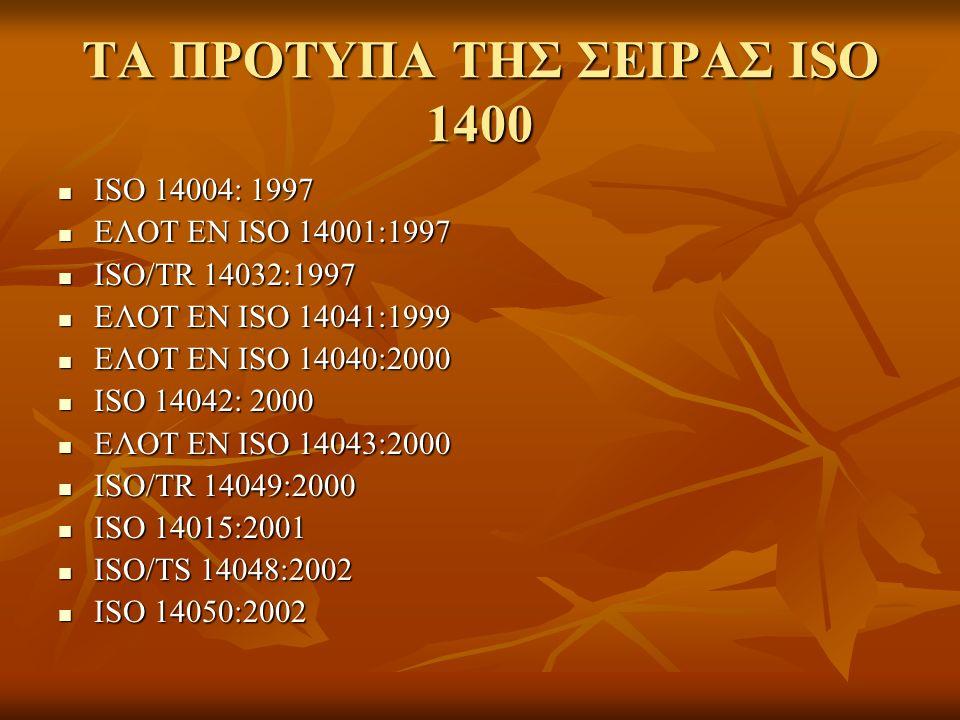 ΤΑ ΠΡΟΤΥΠΑ ΤΗΣ ΣΕΙΡΑΣ ISO 1400 ISO 14004: 1997 ISO 14004: 1997 ΕΛΟΤ ΕΝ ISO 14001:1997 ΕΛΟΤ ΕΝ ISO 14001:1997 ISO/TR 14032:1997 ISO/TR 14032:1997 ΕΛΟΤ ΕΝ ISO 14041:1999 ΕΛΟΤ ΕΝ ISO 14041:1999 ΕΛΟΤ ΕΝ ISO 14040:2000 ΕΛΟΤ ΕΝ ISO 14040:2000 ISO 14042: 2000 ISO 14042: 2000 ΕΛΟΤ ΕΝ ISO 14043:2000 ΕΛΟΤ ΕΝ ISO 14043:2000 ISO/TR 14049:2000 ISO/TR 14049:2000 ISO 14015:2001 ISO 14015:2001 ISO/TS 14048:2002 ISO/TS 14048:2002 ISO 14050:2002 ISO 14050:2002