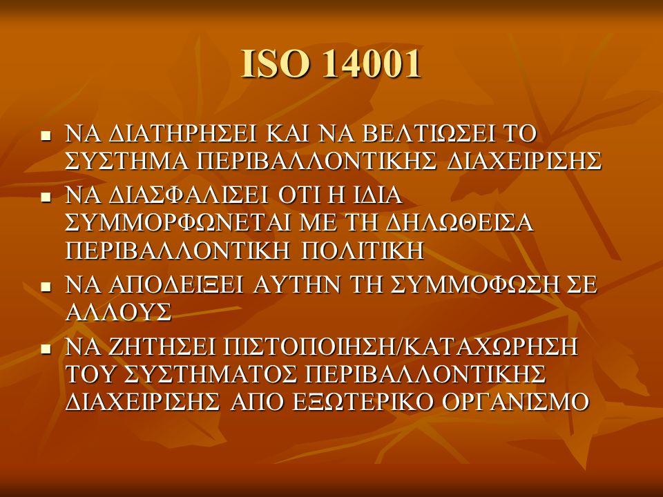 ISO 14001 ΝΑ ΔΙΑΤΗΡΗΣΕΙ ΚΑΙ ΝΑ ΒΕΛΤΙΩΣΕΙ ΤΟ ΣΥΣΤΗΜΑ ΠΕΡΙΒΑΛΛΟΝΤΙΚΗΣ ΔΙΑΧΕΙΡΙΣΗΣ ΝΑ ΔΙΑΤΗΡΗΣΕΙ ΚΑΙ ΝΑ ΒΕΛΤΙΩΣΕΙ ΤΟ ΣΥΣΤΗΜΑ ΠΕΡΙΒΑΛΛΟΝΤΙΚΗΣ ΔΙΑΧΕΙΡΙΣΗΣ ΝΑ ΔΙΑΣΦΑΛΙΣΕΙ ΟΤΙ Η ΙΔΙΑ ΣΥΜΜΟΡΦΩΝΕΤΑΙ ΜΕ ΤΗ ΔΗΛΩΘΕΙΣΑ ΠΕΡΙΒΑΛΛΟΝΤΙΚΗ ΠΟΛΙΤΙΚΗ ΝΑ ΔΙΑΣΦΑΛΙΣΕΙ ΟΤΙ Η ΙΔΙΑ ΣΥΜΜΟΡΦΩΝΕΤΑΙ ΜΕ ΤΗ ΔΗΛΩΘΕΙΣΑ ΠΕΡΙΒΑΛΛΟΝΤΙΚΗ ΠΟΛΙΤΙΚΗ ΝΑ ΑΠΟΔΕΙΞΕΙ ΑΥΤΗΝ ΤΗ ΣΥΜΜΟΦΩΣΗ ΣΕ ΑΛΛΟΥΣ ΝΑ ΑΠΟΔΕΙΞΕΙ ΑΥΤΗΝ ΤΗ ΣΥΜΜΟΦΩΣΗ ΣΕ ΑΛΛΟΥΣ ΝΑ ΖΗΤΗΣΕΙ ΠΙΣΤΟΠΟΙΗΣΗ/ΚΑΤΑΧΩΡΗΣΗ ΤΟΥ ΣΥΣΤΗΜΑΤΟΣ ΠΕΡΙΒΑΛΛΟΝΤΙΚΗΣ ΔΙΑΧΕΙΡΙΣΗΣ ΑΠΟ ΕΞΩΤΕΡΙΚΟ ΟΡΓΑΝΙΣΜΟ ΝΑ ΖΗΤΗΣΕΙ ΠΙΣΤΟΠΟΙΗΣΗ/ΚΑΤΑΧΩΡΗΣΗ ΤΟΥ ΣΥΣΤΗΜΑΤΟΣ ΠΕΡΙΒΑΛΛΟΝΤΙΚΗΣ ΔΙΑΧΕΙΡΙΣΗΣ ΑΠΟ ΕΞΩΤΕΡΙΚΟ ΟΡΓΑΝΙΣΜΟ