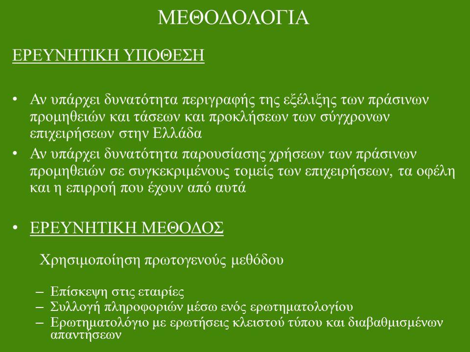 ΜΕΘΟΔΟΛΟΓΙΑ ΕΡΕΥΝΗΤΙΚΗ ΥΠΟΘΕΣΗ Αν υπάρχει δυνατότητα περιγραφής της εξέλιξης των πράσινων προμηθειών και τάσεων και προκλήσεων των σύγχρονων επιχειρήσεων στην Ελλάδα Αν υπάρχει δυνατότητα παρουσίασης χρήσεων των πράσινων προμηθειών σε συγκεκριμένους τομείς των επιχειρήσεων, τα οφέλη και η επιρροή που έχουν από αυτά ΕΡΕΥΝΗΤΙΚΗ ΜΕΘΟΔΟΣ Χρησιμοποίηση πρωτογενούς μεθόδου – Επίσκεψη στις εταιρίες – Συλλογή πληροφοριών μέσω ενός ερωτηματολογίου – Ερωτηματολόγιο με ερωτήσεις κλειστού τύπου και διαβαθμισμένων απαντήσεων