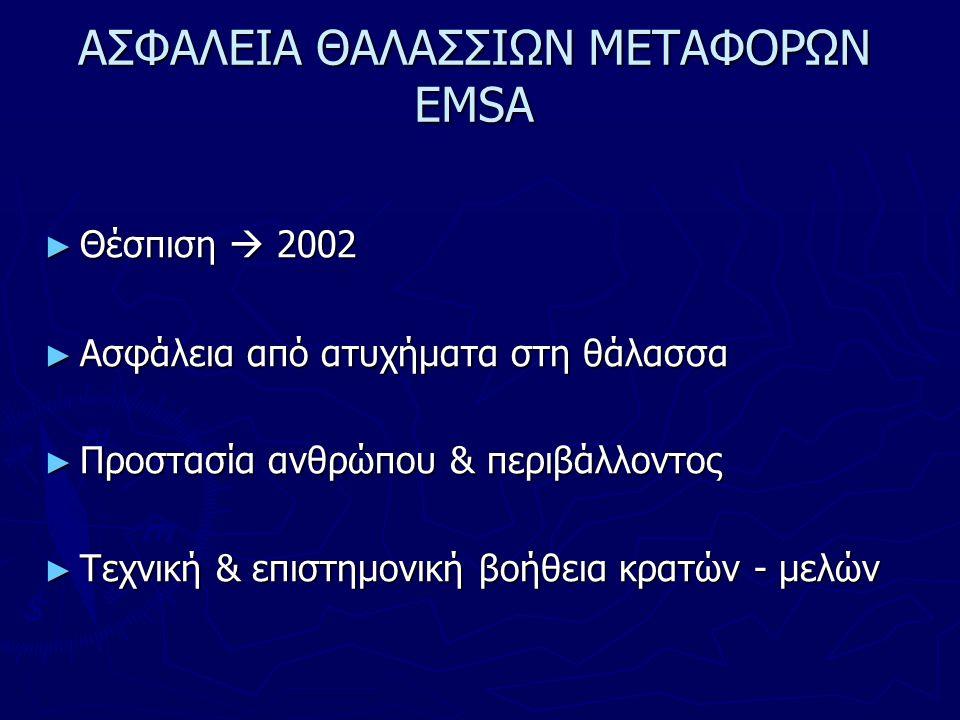ΑΣΦΑΛΕΙΑ ΘΑΛΑΣΣΙΩΝ ΜΕΤΑΦΟΡΩΝ EMSA ► Θέσπιση  2002 ► Ασφάλεια από ατυχήματα στη θάλασσα ► Προστασία ανθρώπου & περιβάλλοντος ► Τεχνική & επιστημονική βοήθεια κρατών - μελών