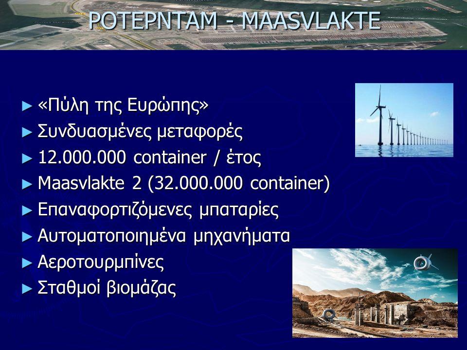 ΡΟΤΕΡΝΤΑΜ - MAASVLAKTE ► «Πύλη της Ευρώπης» ► Συνδυασμένες μεταφορές ► 12.000.000 container / έτος ► Maasvlakte 2 (32.000.000 container) ► Επαναφορτιζόμενες μπαταρίες ► Αυτοματοποιημένα μηχανήματα ► Αεροτουρμπίνες ► Σταθμοί βιομάζας