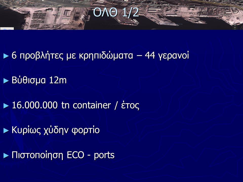► 6 προβλήτες με κρηπιδώματα – 44 γερανοί ► Βύθισμα 12m ► 16.000.000 tn container / έτος ► Κυρίως χύδην φορτίο ► Πιστοποίηση ECO - ports ΟΛΘ 1/2