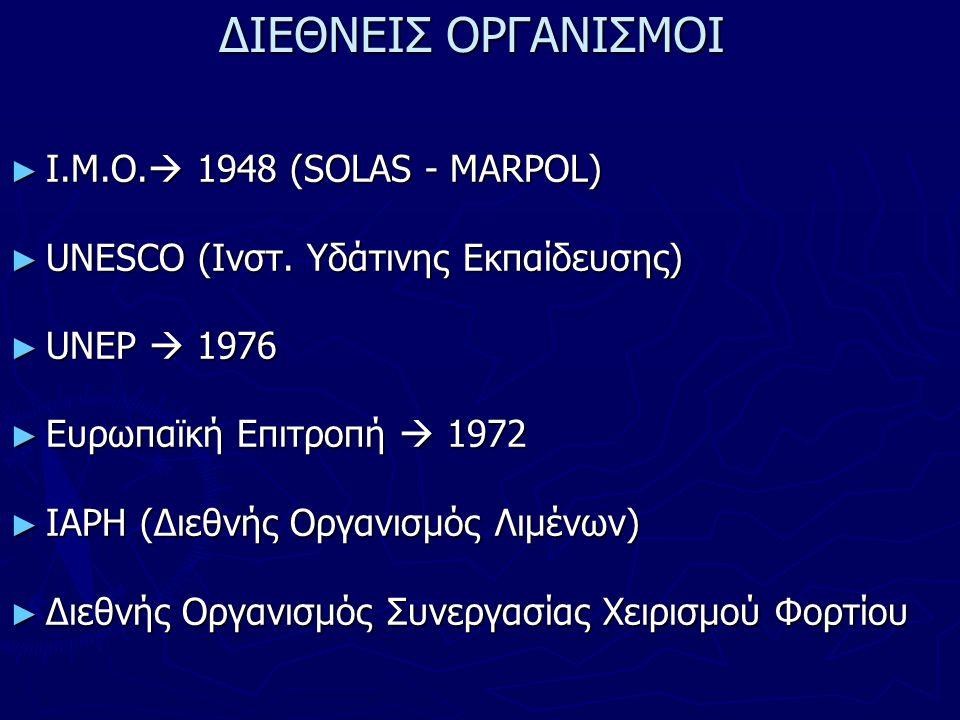 ΔΙΕΘΝΕΙΣ ΟΡΓΑΝΙΣΜΟΙ ► Ι.Μ.Ο.  1948 (SOLAS - MARPOL) ► UNESCO (Ινστ.