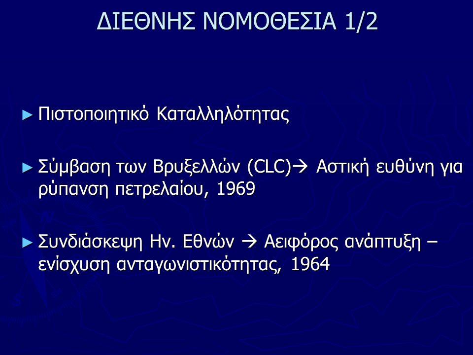 ΔΙΕΘΝΗΣ ΝΟΜΟΘΕΣΙΑ 1/2 ► Πιστοποιητικό Καταλληλότητας ► Σύμβαση των Βρυξελλών (CLC)  Αστική ευθύνη για ρύπανση πετρελαίου, 1969 ► Συνδιάσκεψη Ην. Εθνώ