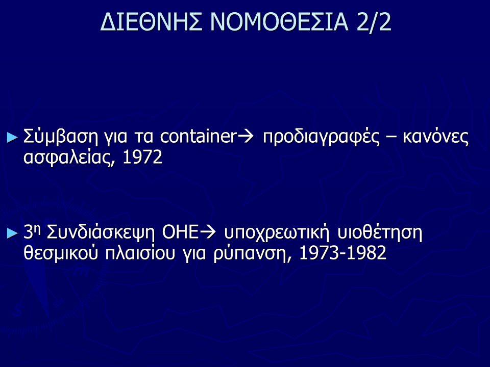 ΔΙΕΘΝΗΣ ΝΟΜΟΘΕΣΙΑ 2/2 ► Σύμβαση για τα container  προδιαγραφές – κανόνες ασφαλείας, 1972 ► 3 η Συνδιάσκεψη ΟΗΕ  υποχρεωτική υιοθέτηση θεσμικού πλαισίου για ρύπανση, 1973-1982