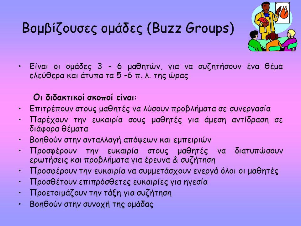 Βομβίζουσες ομάδες (Buzz Groups) Είναι οι ομάδες 3 - 6 μαθητών, για να συζητήσουν ένα θέμα ελεύθερα και άτυπα τα 5 -6 π.
