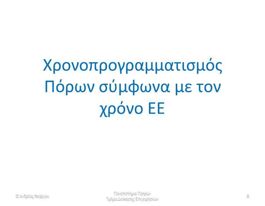 Χρονοπρογραμματισμός Πόρων σύμφωνα με τον χρόνο ΕΕ © Ανδρέας Νεάρχου Πανεπιστήμιο Πατρών Τμήμα Διοίκησης Επιχειρήσεων 8
