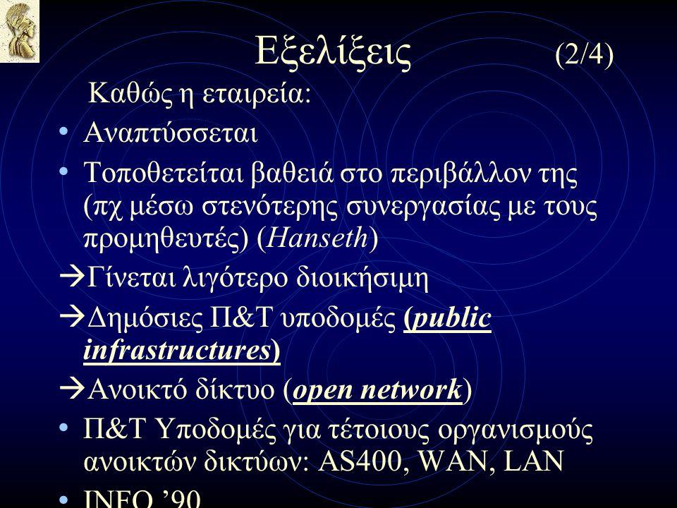 Εξελίξεις (2/4) Καθώς η εταιρεία: Αναπτύσσεται Τοποθετείται βαθειά στο περιβάλλον της (πχ μέσω στενότερης συνεργασίας με τους προμηθευτές) (Hanseth)  Γίνεται λιγότερο διοικήσιμη  Δημόσιες Π&Τ υποδομές (public infrastructures)  Ανοικτό δίκτυο (open network) Π&Τ Υποδομές για τέτοιους οργανισμούς ανοικτών δικτύων: AS400, WAN, LAN INFO '90