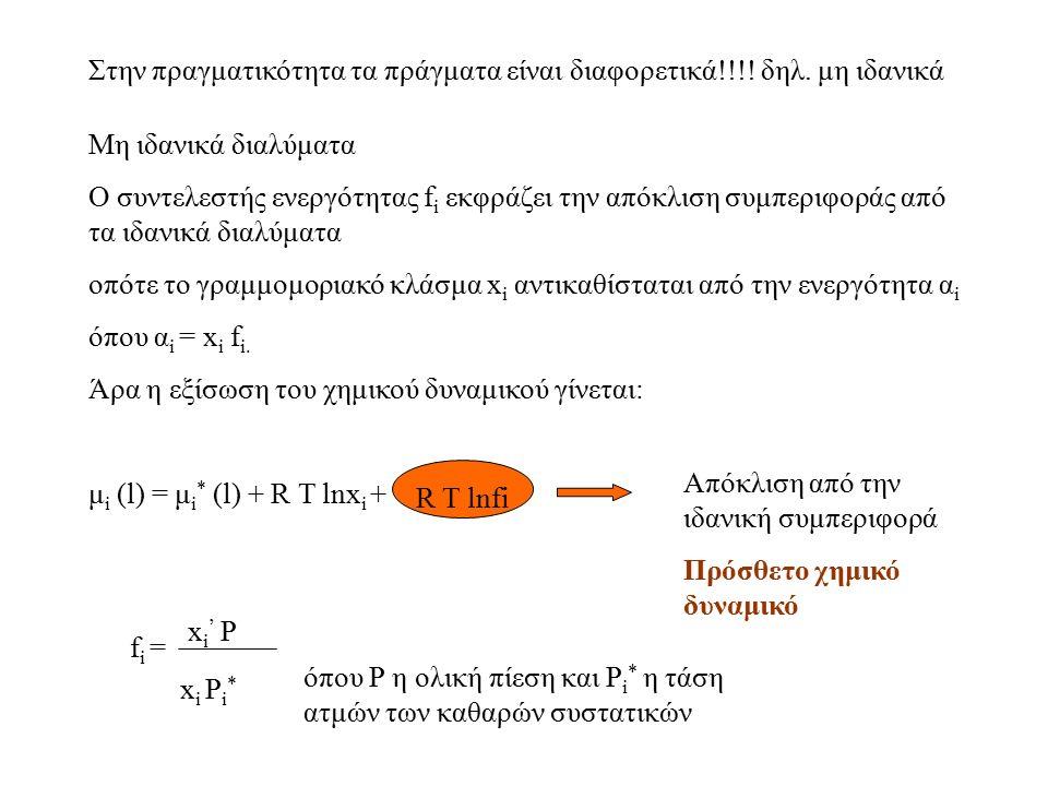Στην πραγματικότητα τα πράγματα είναι διαφορετικά!!!! δηλ. μη ιδανικά Μη ιδανικά διαλύματα O συντελεστής ενεργότητας f i εκφράζει την απόκλιση συμπερι