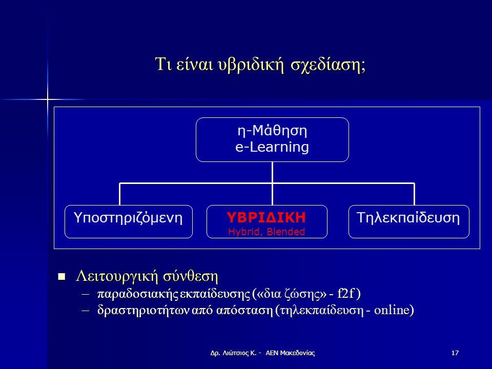 Τι είναι υβριδική σχεδίαση; Λειτουργική σύνθεση Λειτουργική σύνθεση –παραδοσιακής εκπαίδευσης («δια ζώσης» - f2f ) –δραστηριοτήτων από απόσταση (τηλεκπαίδευση - online) η-Μάθηση e-Learning ΥποστηριζόμενηΥΒΡΙΔΙΚΗ Hybrid, Βlended Τηλεκπαίδευση 17Δρ.