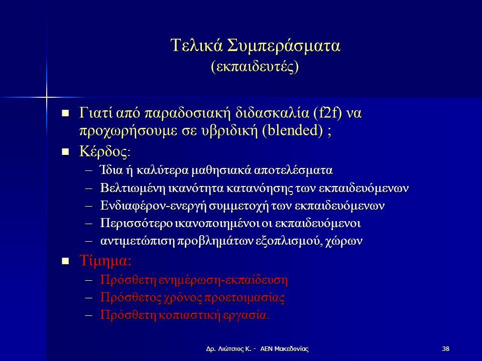 Τελικά Συμπεράσματα (εκπαιδευτές) Γιατί από παραδοσιακή διδασκαλία (f2f) να προχωρήσουμε σε υβριδική (blended) ; Γιατί από παραδοσιακή διδασκαλία (f2f) να προχωρήσουμε σε υβριδική (blended) ; Κέρδος : Κέρδος : –Ίδια ή καλύτερα μαθησιακά αποτελέσματα –Βελτιωμένη ικανότητα κατανόησης των εκπαιδευόμενων –Ενδιαφέρον-ενεργή συμμετοχή των εκπαιδευόμενων –Περισσότερο ικανοποιημένοι οι εκπαιδευόμενοι –αντιμετώπιση προβλημάτων εξοπλισμού, χώρων Τίμημα: Τίμημα: –Πρόσθετη ενημέρωση-εκπαίδευση –Πρόσθετος χρόνος προετοιμασίας –Πρόσθετη κοπιαστική εργασία.