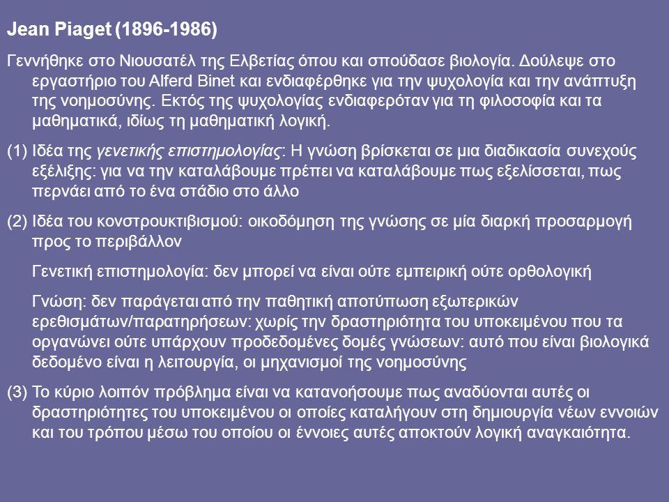 Jean Piaget (1896-1986) Γεννήθηκε στο Νιουσατέλ της Ελβετίας όπου και σπούδασε βιολογία.