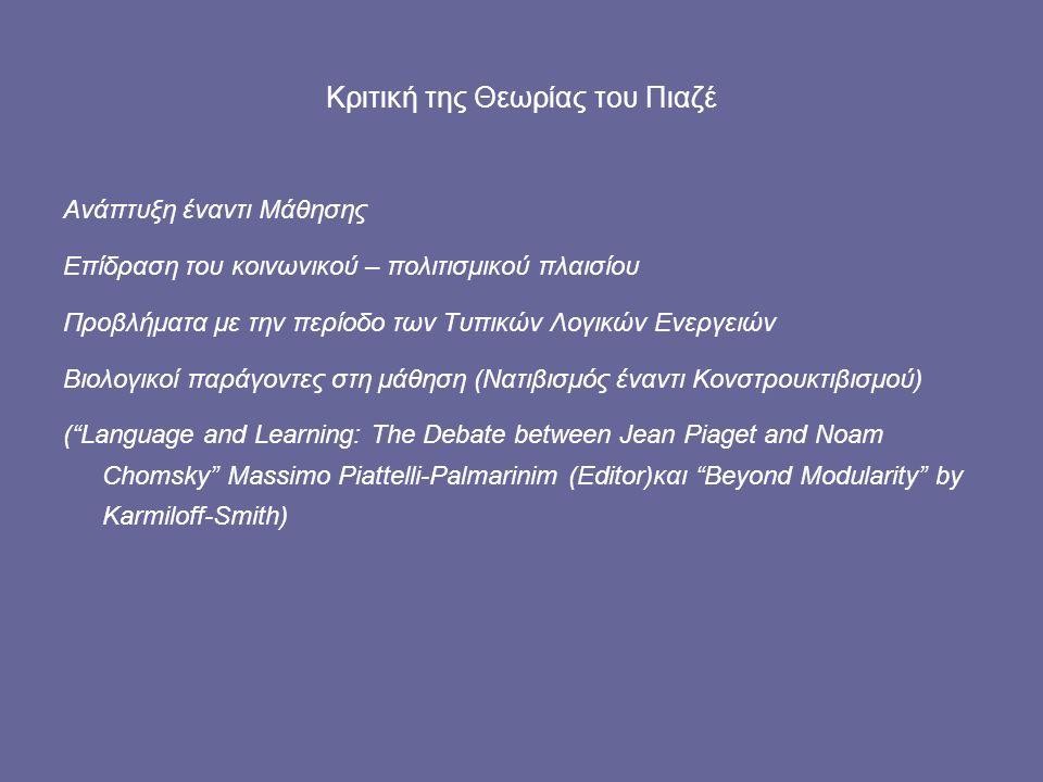 Κριτική της Θεωρίας του Πιαζέ Ανάπτυξη έναντι Μάθησης Επίδραση του κοινωνικού – πολιτισμικού πλαισίου Προβλήματα με την περίοδο των Τυπικών Λογικών Ενεργειών Βιολογικοί παράγοντες στη μάθηση (Νατιβισμός έναντι Κονστρουκτιβισμού) ( Language and Learning: The Debate between Jean Piaget and Noam Chomsky Massimo Piattelli-Palmarinim (Editor)και Beyond Modularity by Karmiloff-Smith)