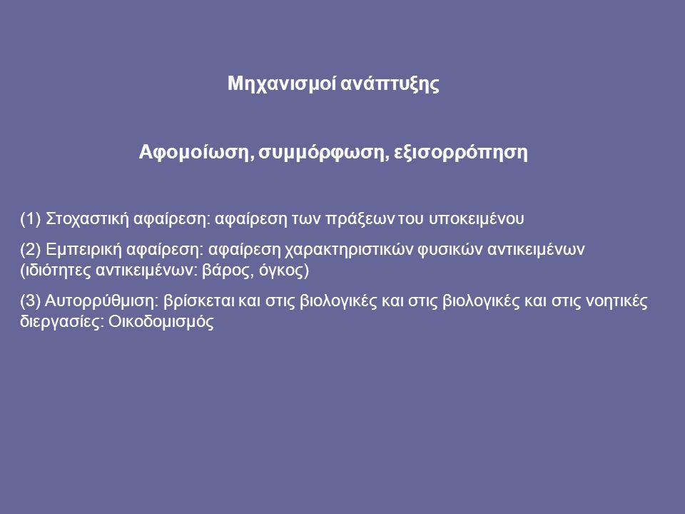 Μηχανισμοί ανάπτυξης Αφομοίωση, συμμόρφωση, εξισορρόπηση (1) Στοχαστική αφαίρεση: αφαίρεση των πράξεων του υποκειμένου (2) Εμπειρική αφαίρεση: αφαίρεση χαρακτηριστικών φυσικών αντικειμένων (ιδιότητες αντικειμένων: βάρος, όγκος) (3) Αυτορρύθμιση: βρίσκεται και στις βιολογικές και στις βιολογικές και στις νοητικές διεργασίες: Οικοδομισμός