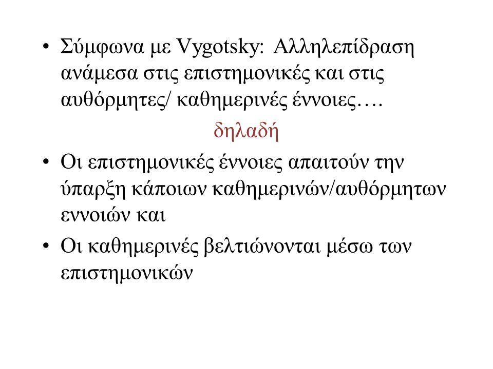 Σύμφωνα με Vygotsky: Αλληλεπίδραση ανάμεσα στις επιστημονικές και στις αυθόρμητες/ καθημερινές έννοιες….