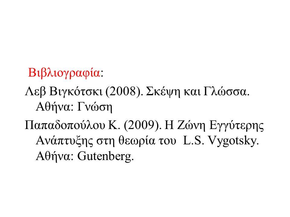 Βιβλιογραφία: Λεβ Βιγκότσκι (2008). Σκέψη και Γλώσσα.