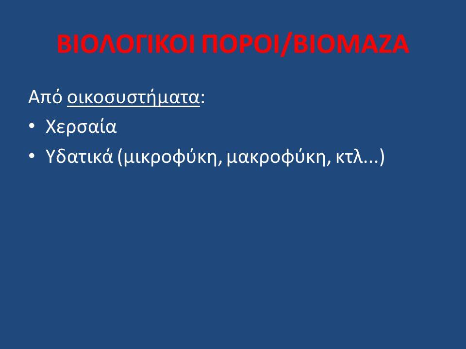 ΒΙΟΛΟΓΙΚΟΙ ΠΟΡΟΙ/ΒΙΟΜΑΖΑ Προέλευση (χερσαία): Φυτική Ζωική Υπάρχον υπόλειμμα: γεωργία, δάση, (αγρο)βιομηχανικό,...