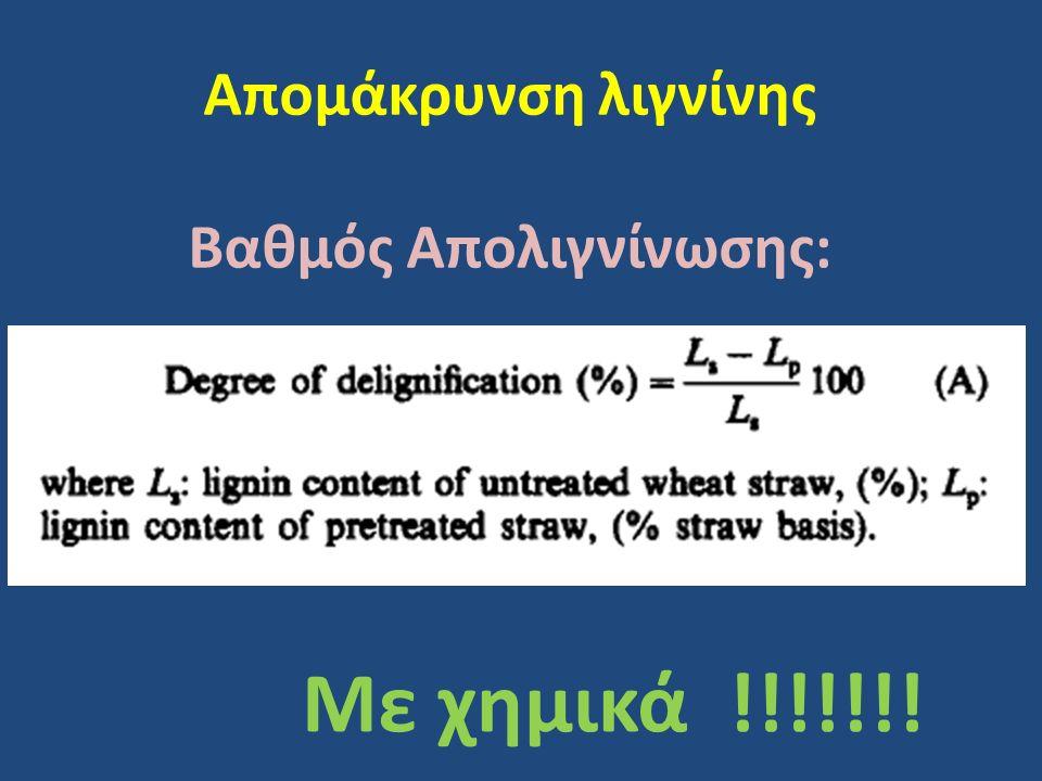 Απομάκρυνση λιγνίνης Βαθμός Απολιγνίνωσης: Με χημικά !!!!!!!