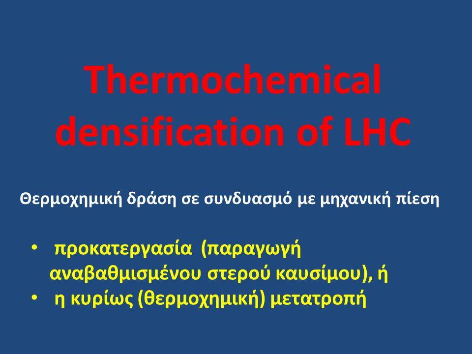 Thermochemical densification of LHC Θερμοχημική δράση σε συνδυασμό με μηχανική πίεση προκατεργασία (παραγωγή αναβαθμισμένου στερού καυσίμου), ή η κυρίως (θερμοχημική) μετατροπή