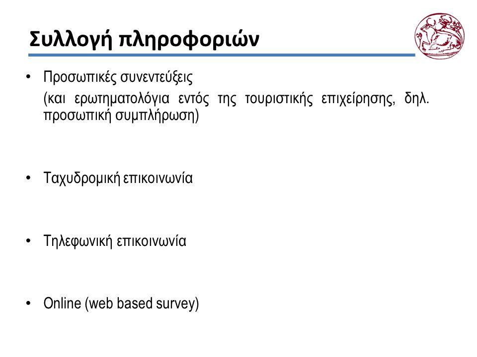 Συλλογή πληροφοριών Προσωπικές συνεντεύξεις (και ερωτηματολόγια εντός της τουριστικής επιχείρησης, δηλ. προσωπική συμπλήρωση) Ταχυδρομική επικοινωνία