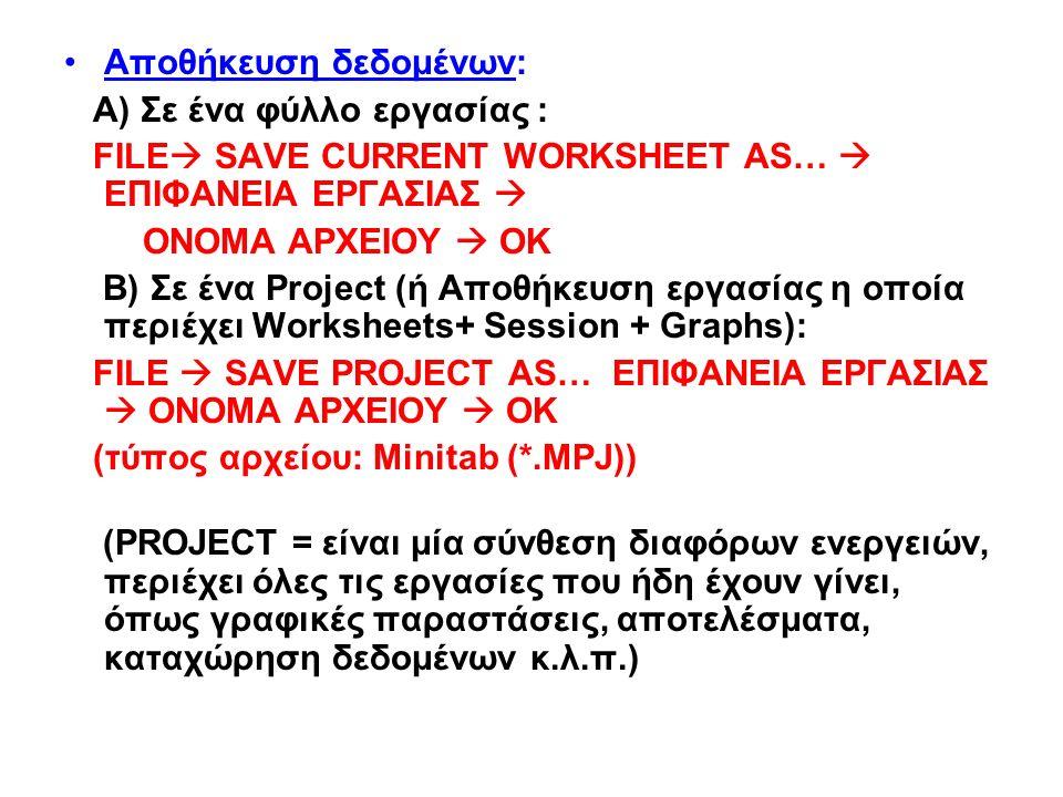 Αποθήκευση δεδομένων: Α) Σε ένα φύλλο εργασίας : FILE  SAVE CURRENT WORKSHEET AS…  ΕΠΙΦΑΝΕΙΑ ΕΡΓΑΣΙΑΣ  ΟΝΟΜΑ ΑΡΧΕΙΟΥ  ΟΚ B) Σε ένα Project (ή Αποθήκευση εργασίας η οποία περιέχει Worksheets+ Session + Graphs): FILE  SAVE PROJECT AS… ΕΠΙΦΑΝΕΙΑ ΕΡΓΑΣΙΑΣ  ΟΝΟΜΑ ΑΡΧΕΙΟΥ  ΟΚ (τύπος αρχείου: Minitab (*.MPJ)) (PROJECT = είναι μία σύνθεση διαφόρων ενεργειών, περιέχει όλες τις εργασίες που ήδη έχουν γίνει, όπως γραφικές παραστάσεις, αποτελέσματα, καταχώρηση δεδομένων κ.λ.π.)