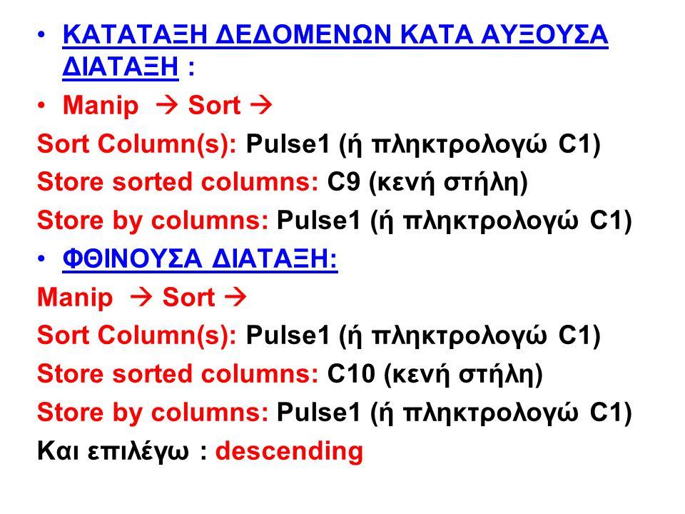 ΚΑΤΑΤΑΞΗ ΔΕΔΟΜΕΝΩΝ ΚΑΤΑ ΑΥΞΟΥΣΑ ΔΙΑΤΑΞΗ : Manip  Sort  Sort Column(s): Pulse1 (ή πληκτρολογώ C1) Store sorted columns: C9 (κενή στήλη) Store by columns: Pulse1 (ή πληκτρολογώ C1) ΦΘΙΝΟΥΣΑ ΔΙΑΤΑΞΗ: Manip  Sort  Sort Column(s): Pulse1 (ή πληκτρολογώ C1) Store sorted columns: C10 (κενή στήλη) Store by columns: Pulse1 (ή πληκτρολογώ C1) Και επιλέγω : descending