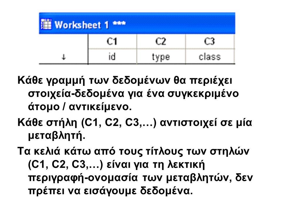 ΕΚΤΥΠΩΣΗ: FILE  Print Session Window ή Print Worksheet (ανάλογα πιο παράθυρο είναι ενεργό)