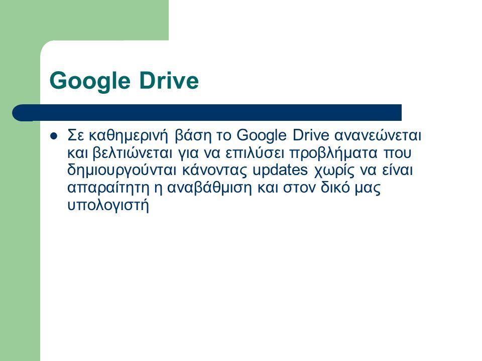 Google Drive Σε καθημερινή βάση το Google Drive ανανεώνεται και βελτιώνεται για να επιλύσει προβλήματα που δημιουργούνται κάνοντας updates χωρίς να εί