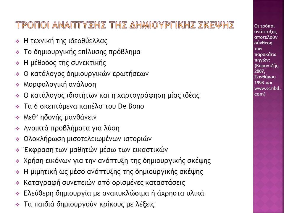  Η τεχνική της ιδεοθύελλας  Το δημιουργικής επίλυσης πρόβλημα  Η μέθοδος της συνεκτικής  Ο κατάλογος δημιουργικών ερωτήσεων  Μορφολογική ανάλυση  Ο κατάλογος ιδιοτήτων και η χαρτογράφηση μίας ιδέας  Τα 6 σκεπτόμενα καπέλα του De Bono  Μεθ' ηδονής μανθάνειν  Ανοικτά προβλήματα για λύση  Ολοκλήρωση μισοτελειωμένων ιστοριών  Έκφραση των μαθητών μέσω των εικαστικών  Χρήση εικόνων για την ανάπτυξη της δημιουργικής σκέψης  Η μιμητική ως μέσο ανάπτυξης της δημιουργικής σκέψης  Καταγραφή συνεπειών από ορισμένες καταστάσεις  Ελεύθερη δημιουργία με ανακυκλώσιμα ή άχρηστα υλικά  Τα παιδιά δημιουργούν κρίκους με λέξεις Οι τρόποι ανάπτυξης αποτελούν σύνθεση των παρακάτω πηγών: (Καραντζής, 2007, Ξανθάκου 1998 και www.scribd.