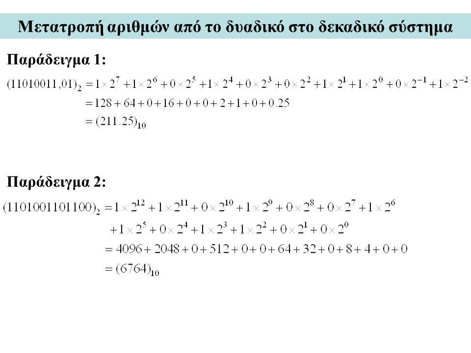 Μετατροπή αριθμών από το δυαδικό στο δεκαδικό σύστημα Παράδειγμα 1: Παράδειγμα 2: