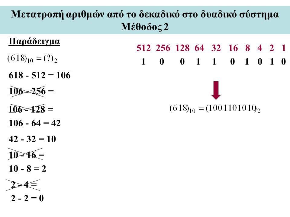 Παράδειγμα Μετατροπή αριθμών από το δεκαδικό στο δυαδικό σύστημα Μέθοδος 2 512 256 128 64 32 16 8 4 2 1 618 - 512 = 106 106 - 64 = 42 42 - 32 = 10 101