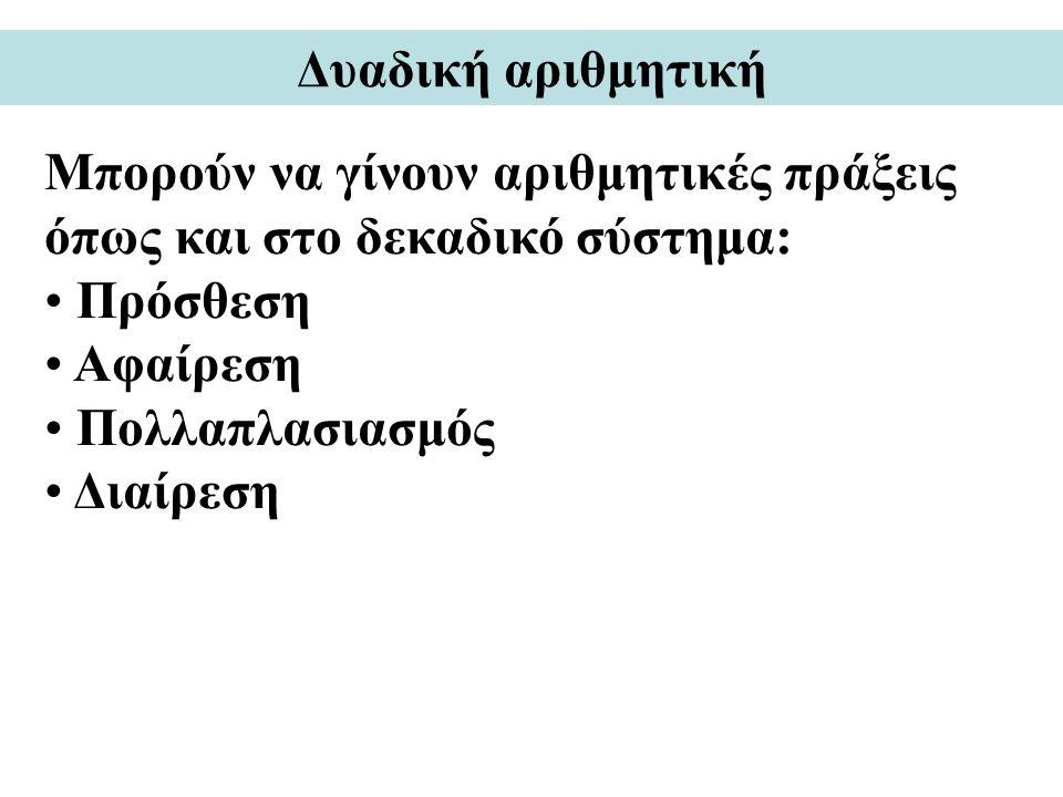 Δυαδική αριθμητική Μπορούν να γίνουν αριθμητικές πράξεις όπως και στο δεκαδικό σύστημα: Πρόσθεση Αφαίρεση Πολλαπλασιασμός Διαίρεση