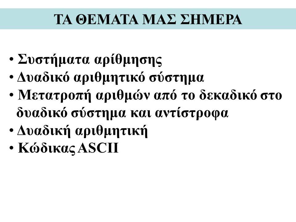 ΤΑ ΘΕΜΑΤΑ ΜΑΣ ΣΗΜΕΡΑ Συστήματα αρίθμησης Δυαδικό αριθμητικό σύστημα Μετατροπή αριθμών από το δεκαδικό στο δυαδικό σύστημα και αντίστροφα Δυαδική αριθμητική Κώδικας ASCII