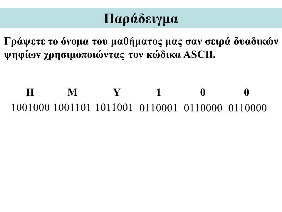 Παράδειγμα Γράψετε το όνομα του μαθήματος μας σαν σειρά δυαδικών ψηφίων χρησιμοποιώντας τον κώδικα ASCII. 1001000 H M Y 1 0 0 1001101 1011001 01100010