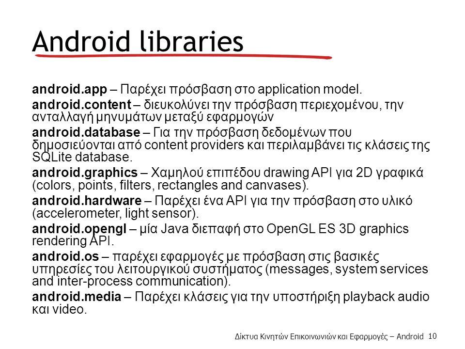 Δίκτυα Κινητών Επικοινωνιών και Εφαρμογές – Android 10 Android libraries android.app – Παρέχει πρόσβαση στο application model.