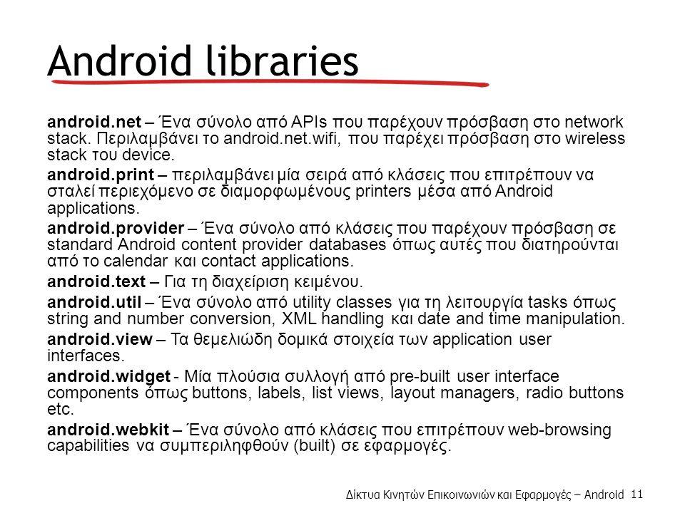 Δίκτυα Κινητών Επικοινωνιών και Εφαρμογές – Android 11 Android libraries android.net – Ένα σύνολο από APIs που παρέχουν πρόσβαση στο network stack.