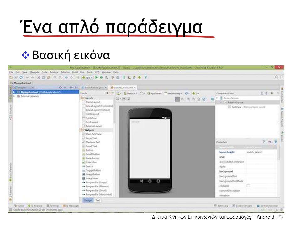 Δίκτυα Κινητών Επικοινωνιών και Εφαρμογές – Android 25 Ένα απλό παράδειγμα  Βασική εικόνα