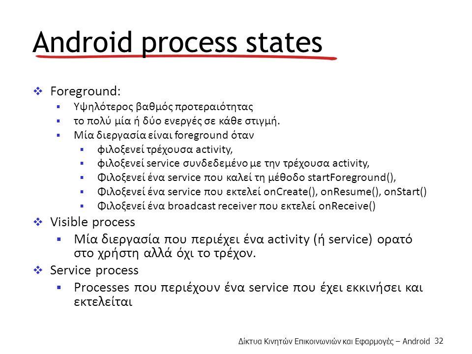 Δίκτυα Κινητών Επικοινωνιών και Εφαρμογές – Android 32 Android process states  Foreground:  Υψηλότερος βαθμός προτεραιότητας  το πολύ μία ή δύο ενεργές σε κάθε στιγμή.