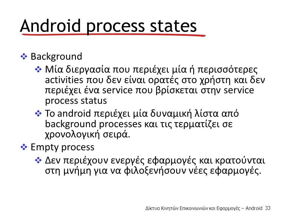 Δίκτυα Κινητών Επικοινωνιών και Εφαρμογές – Android 33 Android process states  Background  Μία διεργασία που περιέχει μία ή περισσότερες activities που δεν είναι ορατές στο χρήστη και δεν περιέχει ένα service που βρίσκεται στην service process status  To android περιέχει μία δυναμική λίστα από background processes και τις τερματίζει σε χρονολογική σειρά.